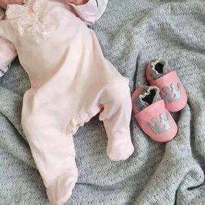Pink Slip on baby shoe